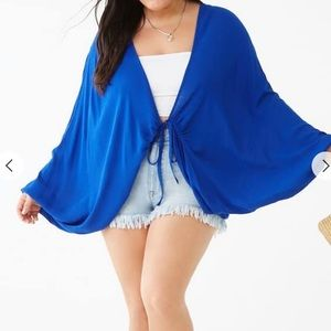 Plus Size Batwing Tie-Front Cardigan